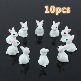 10 Pz Bella Miniatura Mini Coniglio In Resina Giardino Fata Ornamento Fiore Vaso da Fiori Figurine Decorazione Animale @ LS JU0117 da