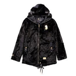 Abrigo de felpa negro online-Otoño invierno nuevos hombres mujeres negro de cuero de felpa chaqueta con capucha abrigo de los hombres con capucha casual negro suelta chaqueta hip hop