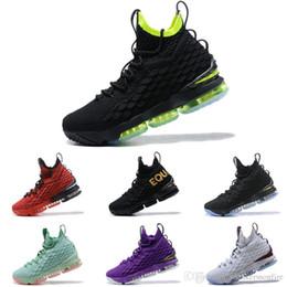 b1b92c641d9 New 2019 Lebron 15 Black Volt Mens Basketball Shoes James 15 Sneakers XV Sports  Shoes Size 40-46 On Sale