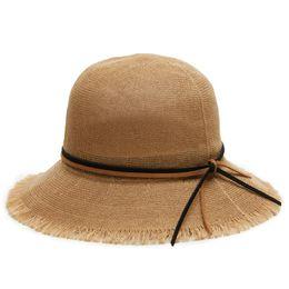 women sun Visor Ribbon Round Flat Top Straw beach hat Panama Hat summer hats  for women straw Adjustable size round top hat men for sale 844f02194d0d