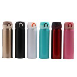 Termos online-Thermos Cup 304 in acciaio inox coperchio rimbalzante Thermos Cup 500ml Studente isolamento termico portatile bottiglie d'acqua DH0002
