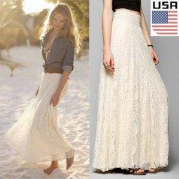 dentelle beige robe maxi mousseline Promotion USA Femmes Double Couche De Mousseline De Soie Plissée Longue Maxi Robe Jupe Taille Élastique