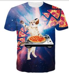 f6fd6a5a0b3 Newest Fashion Pizza Space Galaxy DJ Cat T- Shirt 3D Print Men Womens  Unisex Funny Summer Round Collar Short Sleeve Casual Tops K793
