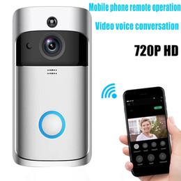 Porta della porta dell'allarme della casa online-2019 NUOVO Smart Home V5 Videocamera senza fili Campanello per videocamera 720P HD WiFi Campanello per campanello Sicurezza domestica Smartphone Monitoraggio remoto Allarme Porta Senso