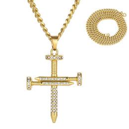 Bling для ногтей онлайн-Новый Nail крест ожерелье хип-хоп полный Алмазный кулон мужчин Bling ожерелье с золотой цепи нержавеющей стали Шарм Крест Pendnat ювелирные изделия O156FY