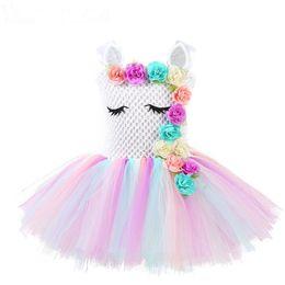 Meninas traje arco íris on-line-Meninas unicórnio flor tutu vestido pastel arco-íris princesa meninas vestido de festa de aniversário das crianças do dia das bruxas traje unicórnio aaa1874