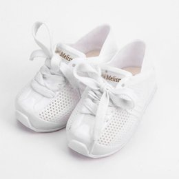 Sandalias de invierno de las niñas online-Melissa Sports Tennis Shoes 2018 New Winter Flat Slip-on Kids Mini sandalias zapatillas transpirables Love System Girl Jelly Y18110304
