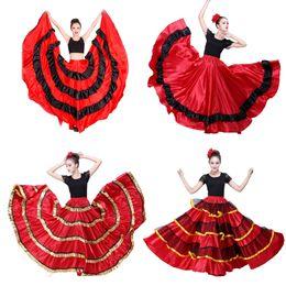 2019 trajes de baile azul blanco rojo Falda de flamenco de mujer gitana Poliéster Satén Suave Columpio grande Fiesta de carnaval Salón Vestidos de danza del vientre