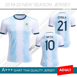 Camiseta del equipo de fútbol argentina online-2019 Argentina soccer Jersey 2020 Inicio MESSI DYBALA DI MARIA AGUERO HIGUAIN equipo nacional 19 20 camiseta de fútbol de Argentina