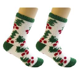 2019 calcetines de cachemir para niñas 1 Par de Invierno Cálido Señoras Calcetines Longitud regalos de los niños calcetines de caramelo Chica Linda Mujer Estilo de Navidad Coral Cashmere Calcetín calcetines de cachemir para niñas baratos