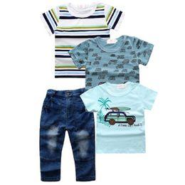 Modèle de style de voiture en Ligne-Garçon Cow-boy Ensemble de quatre pièces Motif pour la voiture Mince Section Rayures Coton Été T-shirt à manches style unique 15
