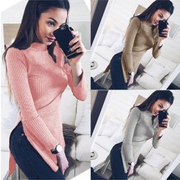 Новые стильные свитера онлайн-Women New Stylish Knitted High Split Sweaters Casual Solid Color Long Sleeve Pullovers High Collar Tops