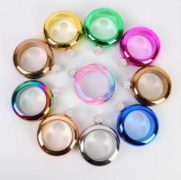pulseira de balão Desconto 9styles aço Inoxidável 304 hip Flask Bracelet hip flask portátil rodada hip flask tampa de diamante mini garrafa de vinho presente do negócio FFA2052