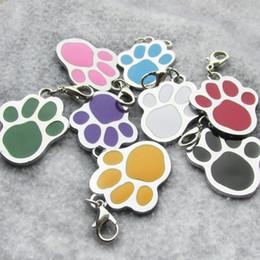 Etiquetas de la pata online-100 unids / lote pata de aleación de zinc en blanco perro mascota etiquetas de identificación láser diamante grabable mascotas etiquetas de perro