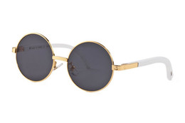 aluminum metal boxes Coupons - Luxury-designer sunglasses for women full rimless mens buffalo horn glasses with round lens gold metal buffalo sunglasses with box case