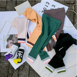 24 monate mädchen jeans Rabatt 2 3 4 5 6 Jahre Kinder Leggings Mode Farbe Thread Pit Pants Herbst Kleinkind Mädchen dünne Hosen Baumwolle Casual Leggings für Mädchen