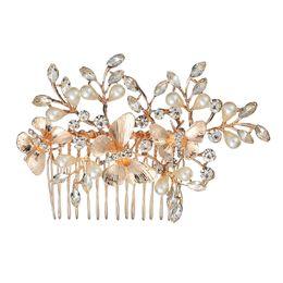 casamento do pente do cabelo da borboleta Desconto Bela Liga Pente Inserir Pente Borboleta Pérola Diamante Headwear Acessórios Para o Cabelo Cocar de Casamento Noiva