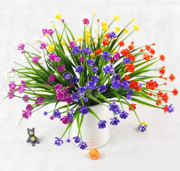 2019 piccole piante artificiali in vaso Piante verdi in vaso di piccola peonia con fiori secchi in plastica di fiori artificiali e sette forcelle di erba primaverile WL110 piccole piante artificiali in vaso economici