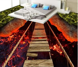 photo sticker wall Promo Codes - 3d pvc flooring custom photo Waterproof floor wall sticker Thrilling rope bridge volcanic lava decor living room wallpaper for walls 3 d