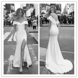 Pure White Mermaid Wedding Dresses Off Shoulder Split Satin Sweep Train Bridal Gowns Plus Size Robe De Mariée