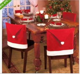 2019 niños guantes amarillos Funda de silla de Navidad Sombrero rojo de Santa Claus para la cena Decoraciones Decoraciones para el hogar Mesas Decoraciones para fiestas Decoración navideña
