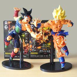Grande figura de ação goku on-line-O ENVIO GRATUITO de 22 CM bola de Dragão Z SCultures GRANDE Ressurreição De F Styling Deus Super Saiyan Son Goku Bardock Ação PVC Figura Toy KT1759