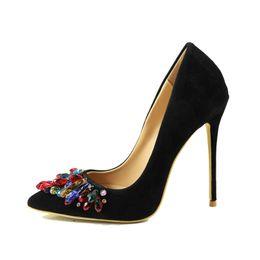 Zapatos Mujer красочные Кристалл высокие каблуки строка бисером шпильках каблуки насосы сексуальные остроконечные женщин платье партии обувь от