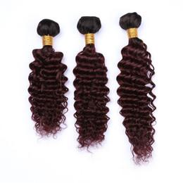 """Tejido ondulado rojo del cabello humano online-# 1B / 99J Vino rojo Ombre Onda profunda Virgin Indian Hair 3Bundles Black to Burgundy Ombre Deep Wavy Weave de tejido humano tramas 10-30 """""""