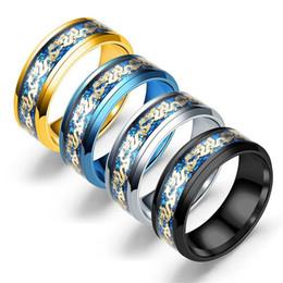 Groß Verlost 4 Farben Gold Drachen Muster Edelstahl Schmuck Männer Ringe Luxus Ring Verlobungsringe Eheringe von Fabrikanten