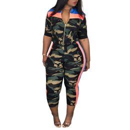 camouflage outfits frauen Rabatt 2-teiliges Set Frauen Camouflage Top und Hosen Zweiteiliges Set Frauen Fitness Zipper Outfits für Sommerkleidung Hosen