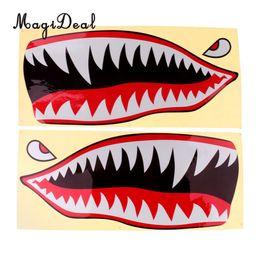 barco de esqui de peixes Desconto MagiDeal À Prova D 'Água 2 Pcs Tubarão Dentes Boca Olhos Decalques Adesivos para Caiaque Barco de Pesca Gráficos Dinghy Jet Ski Fornecimento 42x18 cm