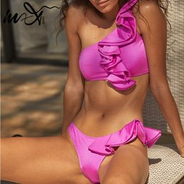 2019 bandeau viola Top In-X Ruffle Sexy bikini monospalla 2019 Costume da bagno costume da bagno femminile Costume da bagno viola costume da bagno Costume da bagno sconti bandeau viola