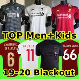 Kits de futebol preto on-line-2019 2020 New Mohamed Salah Blackout camisa de futebol 6 troféu 2019 MANE Tops VIRGIL camisa de futebol camiseta FIRMINO Kits ALISSON Preto maillot