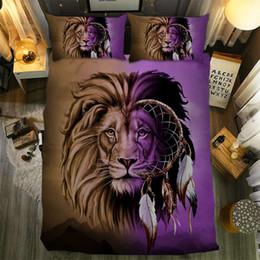 Lila bettwäsche setzt zwilling online-Dreamcatcher Seriors Bettwäsche-Set 3D-Druck mit Lion Purple Twin Full Queen-Size-Heimtextilien für Bettgarnitur für Erwachsene