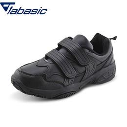 Sapatos uniformes on-line-JABASIC Nova Escola Uniforme Sneaker Preto Branco Pu Sapatos De Couro Crianças Meninos Sapatos de Vestido de Escola chaussure enfant Schoenen Kid