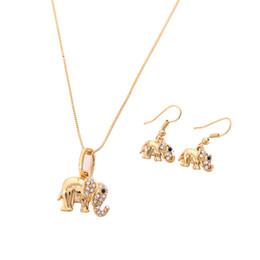 Brincos ocidentais on-line-Projeto ocidental africano elefante bonito conjunto na moda da cor do ouro animal pingente brincos sorte jóias