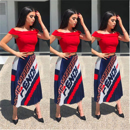 girls long cotton skirts Coupons - Women FF Letters Pleats Skirt Trendy Retro Elastic Waist Long Dresses Designer Pleated Skirts Girls Fashion Bouffancy Match Dress C42205