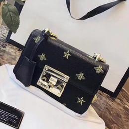 2019 кожаная сумка на замке Сумки сумки женские брендовые сумки на ремне Цепная сумка через плечо с замком от насекомых с печатью знаменитые кожаные сумки кошельки дешево кожаная сумка на замке
