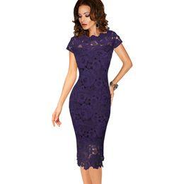 Vente en gros Femmes Élégant Sexy Crochet Évider Pinup Soirée Occasion Spéciale Gaine Équipée Vestidos Robe 1063 ? partir de fabricateur