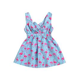 vestidos de flamingo Desconto Bebê Flamingo Meninas Vestido Impresso Sem Mangas Tightness Criança Infantil Plissado Com Decote Em V Recém-nascido Gravata Azul Verão 1-4 T