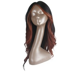 Parrucche sintetiche senza cappuccio a caldo # HL350 per capelli lisci sexy ondulati per le donne Ombre Parrucca ondulata lunga con frangia Parte centrale Fibra ad alta temperatura da