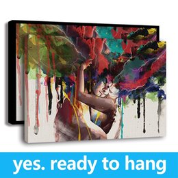 great art pictures Promo Codes - Framed Wall Art Couple Graffiti Picture HD Printed on Canvas Modern Fashion Home Decor, Great Gift for Love - Ready To Hang - Framed