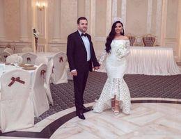 Off chá vestidos de casamento de comprimento on-line-Branco Sereia Renda Off Ombro Manga Comprida Alta Baixo comprimento do chá Plus Size Vestidos de Noiva Baratos 2019 New Sexy Nupcial Vestidos Arábia Saudita