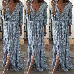 Canada Femmes Dames Vêtements Floral Imprimer Manches Longues Boho Dress Lady Summer Deep V Cou Party Long Maxi Dress Femmes Y190117 Offre