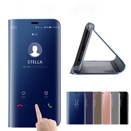 Canada Cas de téléphone intelligent de luxe miroir pour Samsung A10 A20 A30 A40 A60 A70 Coque Smart Flip A8 A6 A7 J4 J6 Plus 2018 Couverture supplier a7 flip cover Offre