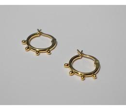 Hebilla de oreja de oro online-Nuevo pendiente de plata de ley 925 moda punto redondo anillo de oído oreja hebilla de hueso salvaje personalidad tendencia femenina joyería de oro
