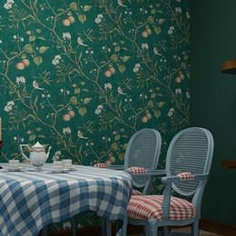Papel de parede de pássaro vintage on-line-Papel de parede Flower Pastoral americano e Wallpaper Pássaro de Apple Vintage Árvore Mural Wallpapers Rolo Verde Amarelo Papier Peint QZ035