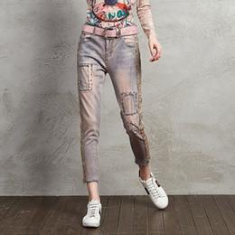 2019 oro delle gambe delle ragazze Jeans Girls Ricamo Pantaloni a gamba corta elasticizzati con stampa dorata oro delle gambe delle ragazze economici