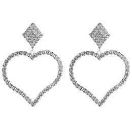 2019 orecchino maxi KMVEXO Orecchini con ciondolo a forma di cuore grande con strass lucido per gioielli da donna Quadrati Maxi orecchino Accessori da sposa per feste orecchino maxi economici