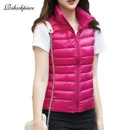 Rihschpiece 2018 Plus Size 3XL Ultra Light Duck Down Jacken für Frauen Frühlings Weste Puffer Coat dünne Weste Winter Behälter RZF1464